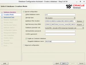 图1. Oracle DBCA屏幕,其中已选中创建容器数据库的选项。